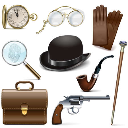 evidence bag: Detective Icons isolated on white background