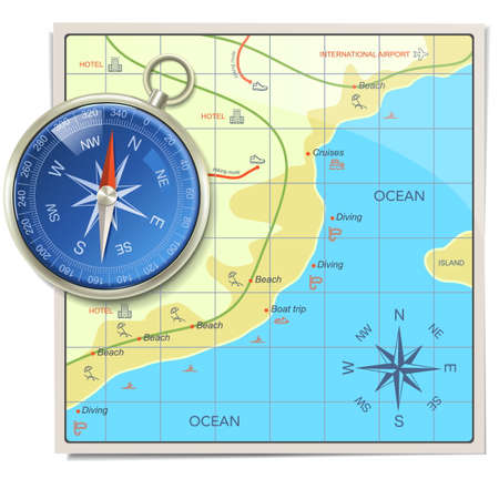 Beach Kaart met kompas op een witte achtergrond Stock Illustratie