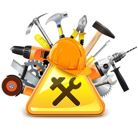 Construction Tools with Sign isolated on white background Illustration