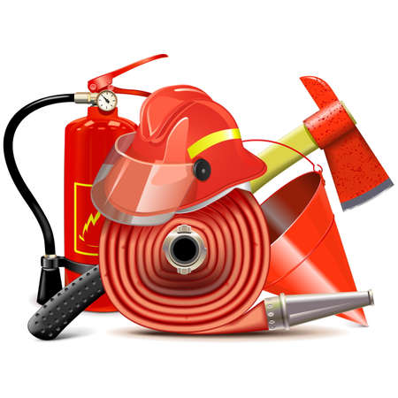 Fire Prevention Equipment Concept isolated on white background