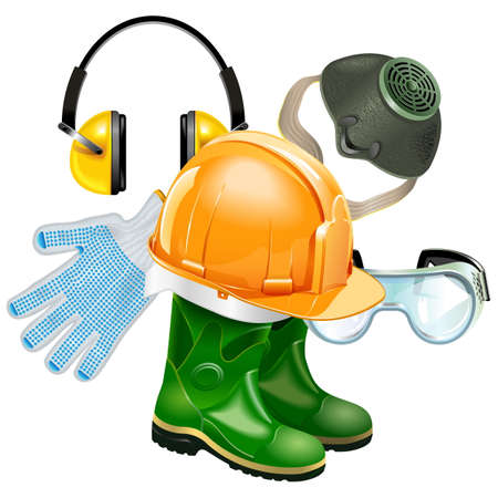Protective Equipment Concept isolated on white background Çizim