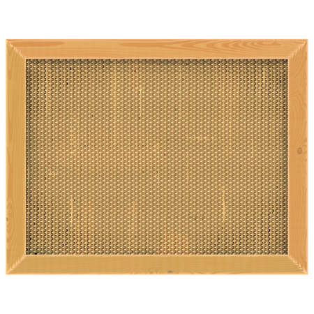 matting: Wooden Frame with Sackcloth isolated on white background