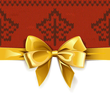 Gift Bow with Autumn Knitted Pattern 1 isolated on white background