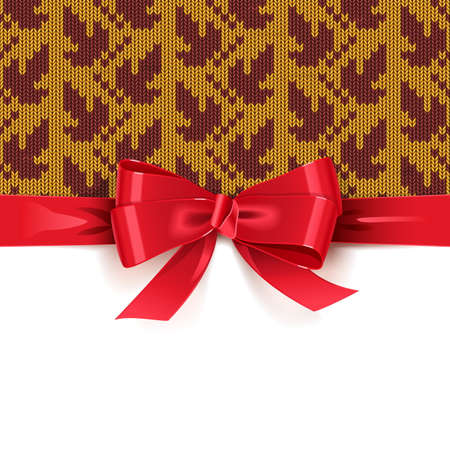 Gift Bow with Autumn Knitted Pattern 2 isolated on white background