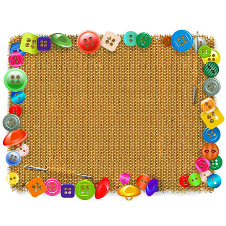 brawn: Sackcloth Frame with Buttons isolated on white background Illustration