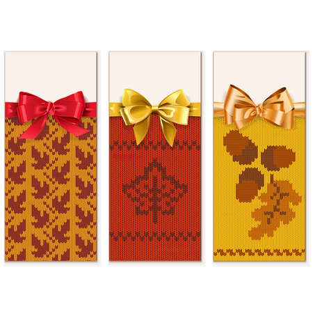 Autumn Knitted Banners Set 1 isolated on white background