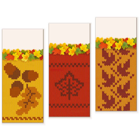 annotation: Autumn Knitted Banners Set 2 isolated on white background
