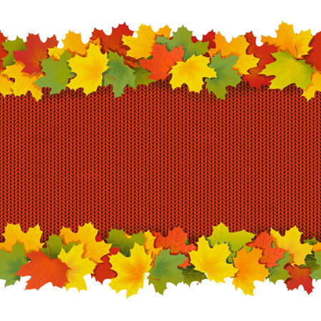 Knitted Border with Maple Leaves isolated on white background
