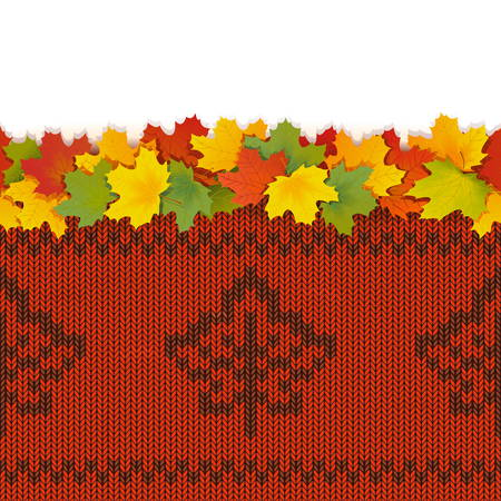 Maple Leaves with Autumn Knitted Pattern 2 isolated on white background