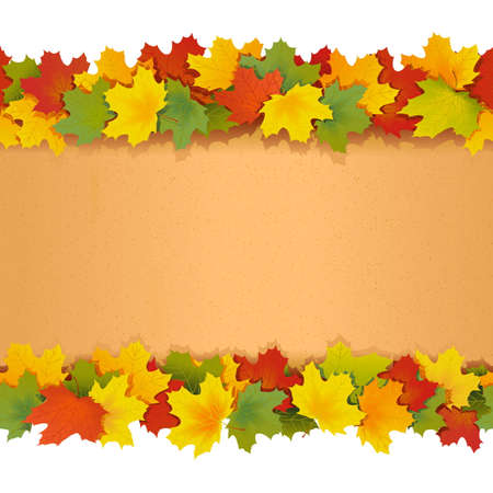 folio: Paper Border with Maple Leaves isolated on white background