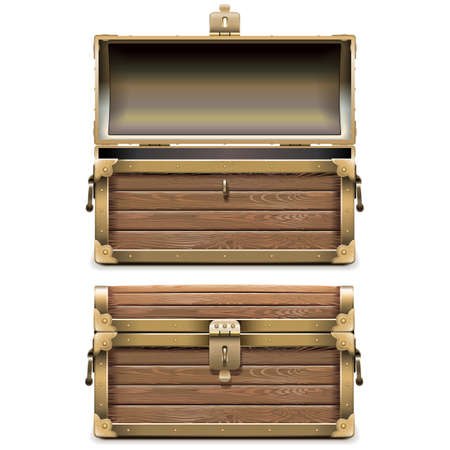 Empty Old Chest isolated on white background Vectores