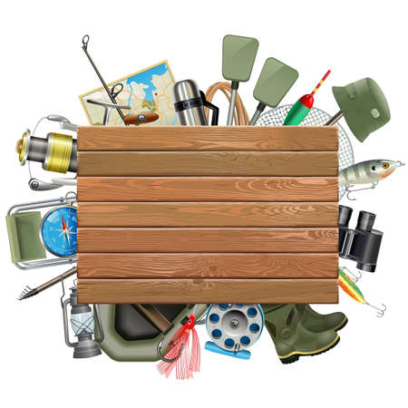 bobber: Old Wooden Board with Fishing Tackle isolated on white background Illustration