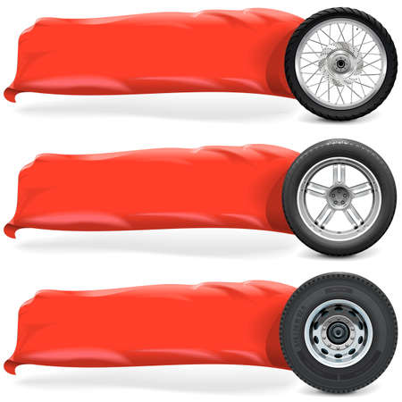 spoke: Wheels with Banner isolated on white background Illustration