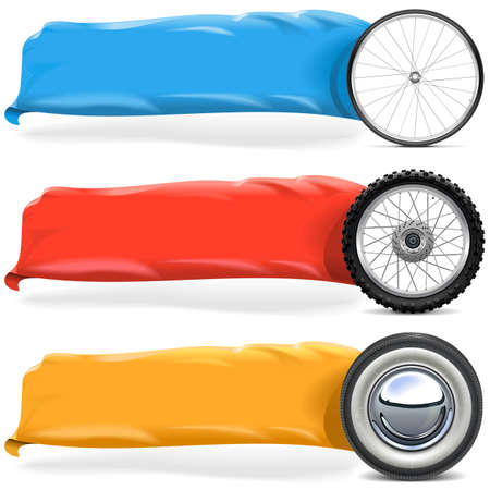 spares: Wheels with Banner Set isolated on white background