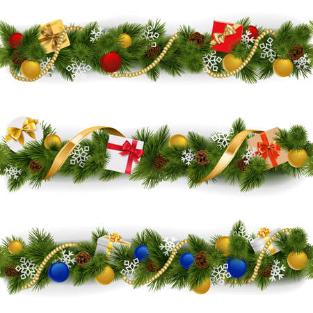Christmas Border Set isolated on white background
