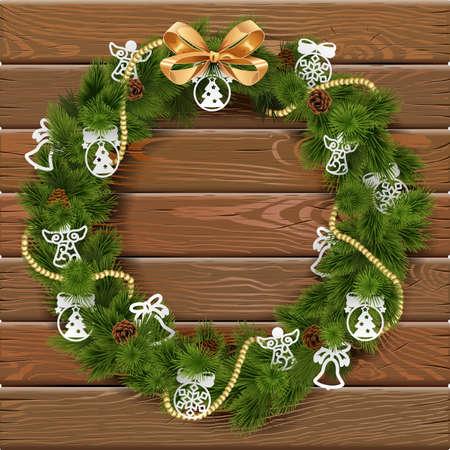 religion catolica: Corona de Navidad sobre tabla de madera con adornos de papel y el arco de oro