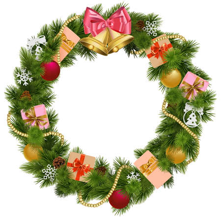 pink christmas: Christmas Wreath with Christmas Bell isolated on white background Illustration