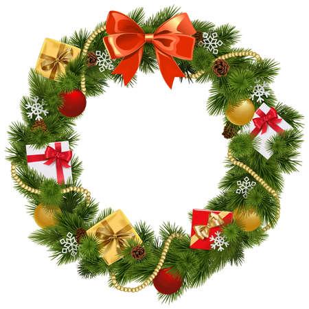 Boże Narodzenie wieniec z czerwonym dziobem na białym tle Ilustracje wektorowe