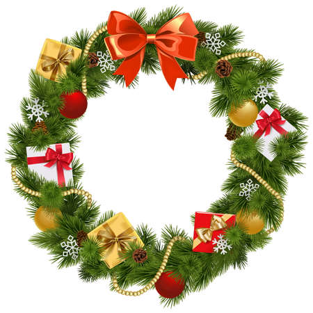 coniferous tree: Christmas Wreath with Red Bow isolated on white background