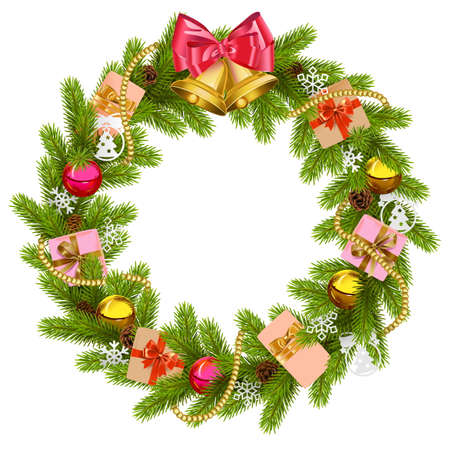 Fir Wreath with Christmas Bell isolated on white background