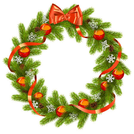 coniferous: Fir Wreath with Red Decorations isolated on white background