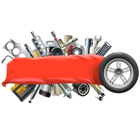 spares: Vector Banner with Car Spares isolated on white background