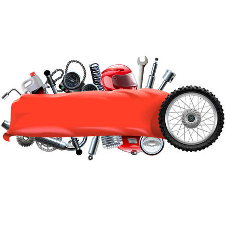 spares: Vector Banner with Motorcycle Spares isolated on white background