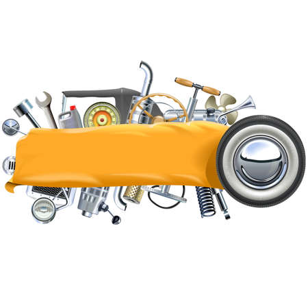 spares: Vector Banner with Retro Car Spares isolated on white background Illustration