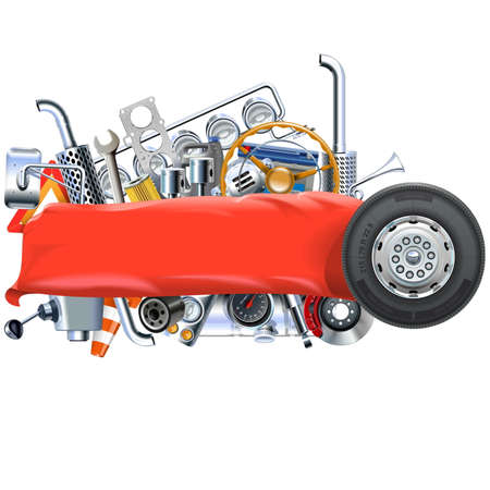 spares: Vector Banner with Truck Spares isolated on white background