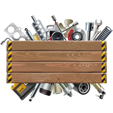 spares: Vector Wooden Board with Car Spares isolated on white background