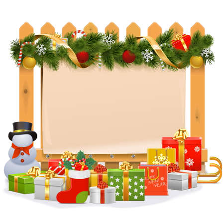 Wooden Fence with Christmas Decoration isolated on white background Illustration
