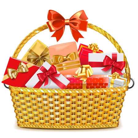 Vector Wicker Basket with Gifts isolated on white background
