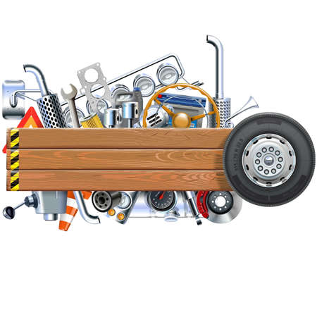 spares: Vector Wooden Board with Truck Spares isolated on white background