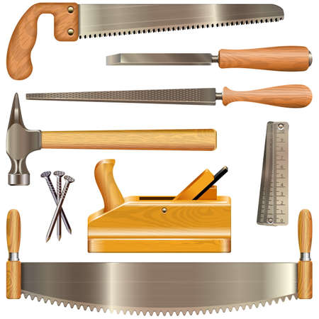 nail cutter: Vector Carpentry Tools isolated on white background Illustration