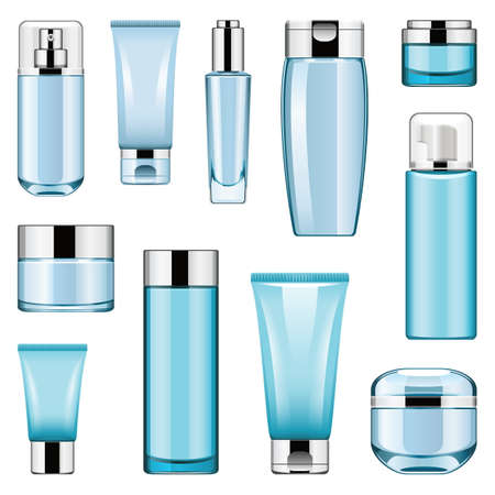 Vector Kosmetische Verpakking Pictogrammen Set 6 geïsoleerd op een witte achtergrond Stock Illustratie