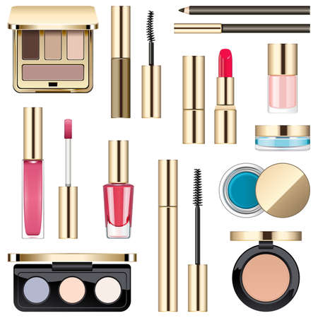 eyebrow makeup: Vector Makeup Icons isolated on white background Illustration