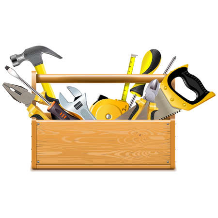 Vector Toolbox with Instruments isolated on white background Illustration