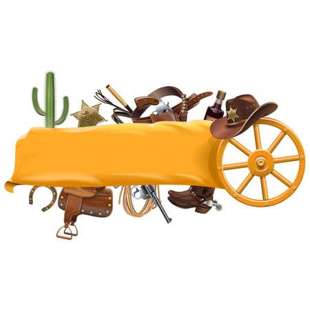 Vector Cowboy Banner auf weißen Hintergrund