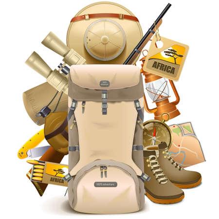 mochila de viaje: Vector Safari Haversack aislado sobre fondo blanco
