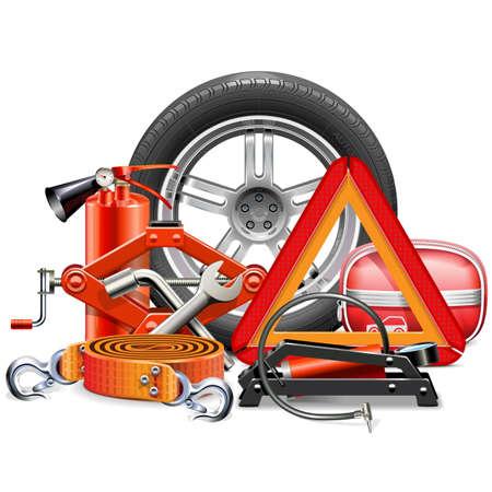 Vector Car Accessories Concept geïsoleerd op een witte achtergrond