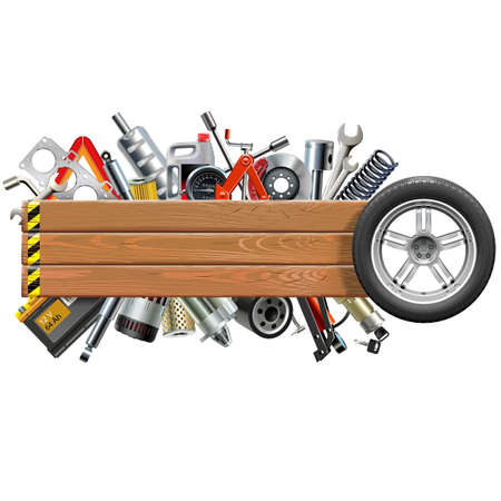 Vector Board with Wheel and Car Spares isolated on white background Illustration