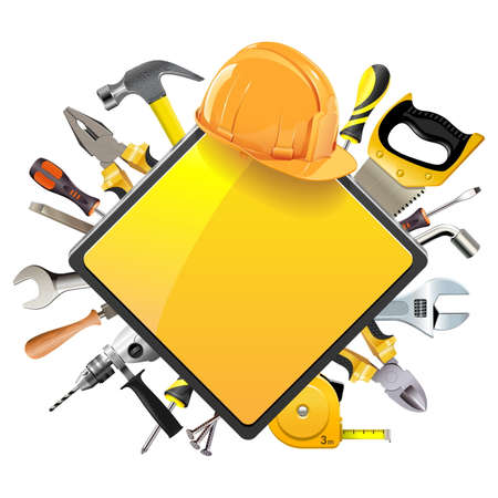 helmet construction: Vector Rhombic Sign with Tools isolated on white background Illustration