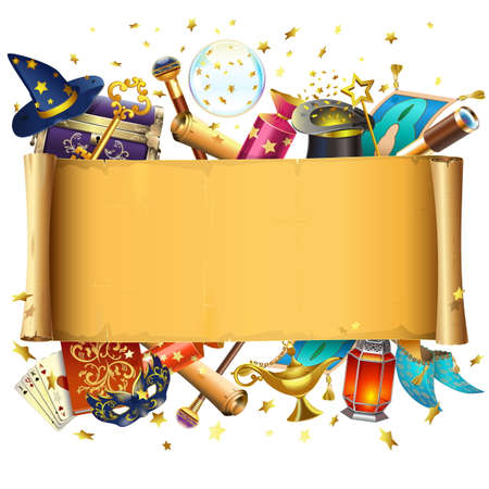 Vector Scroll with Magic Accessories isolated on white background Illustration