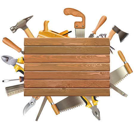 Vector Wooden Board with Hand Tools isolated on white background
