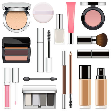 maquillage: Vector Makeup Icons Set 2 isolated on white background