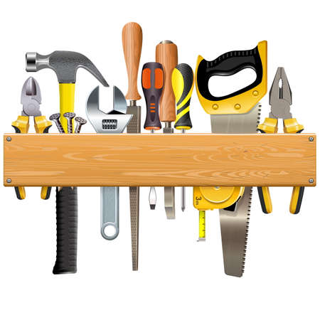 Vector Wooden Plank with Tools isolated on white background Illustration