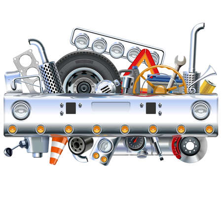 Vector Truck Bamper with Spares isolated on white background