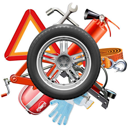 Vector Wheel with Car Accessories isolated on white background Ilustração