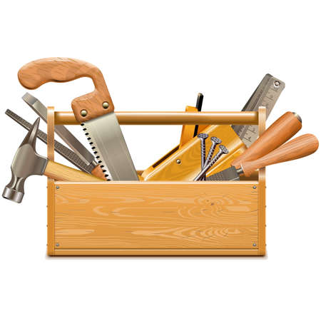 Vector Toolbox with Retro Instruments isolated on white background