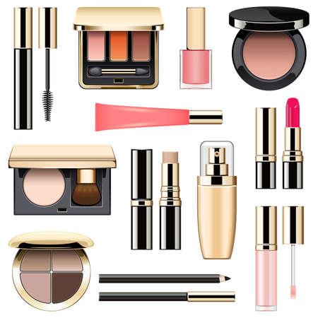 Make-up-Icons Set 3 isoliert auf weißen Hintergrund Vektorgrafik